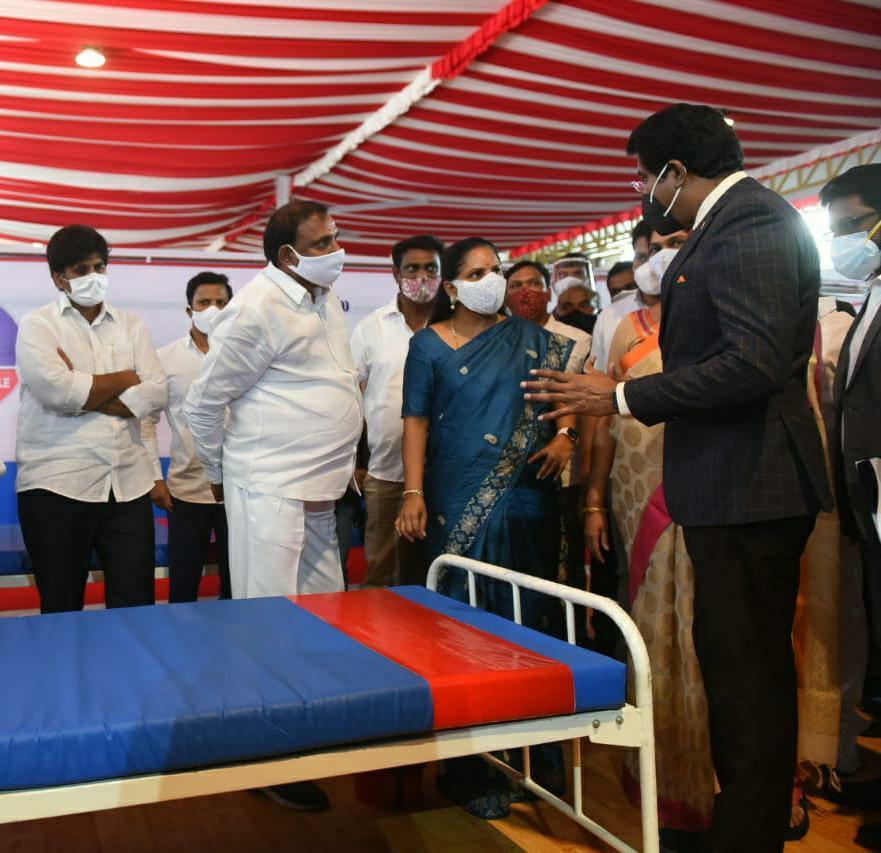 300 Bed Covid Isolation Centre at Calvery Temple inaugurated by MLC Kavitha in association with Ankura Hospital and St Theresa Hospital,v9 news telugu,teluguworldnow.com